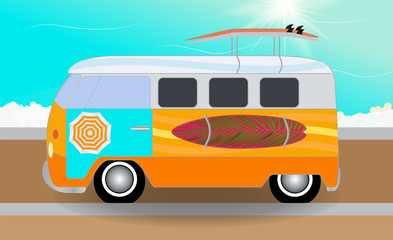 Cartoon van with surfboards standing in the road by the sea. Vec