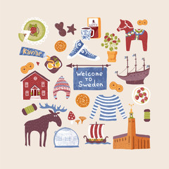 Vector set with hand drawn art design elements of symbols of Sweden. Traditional swedish food, clothes, landmarks. Clipart for greeting cards and fabric about Sweden.
