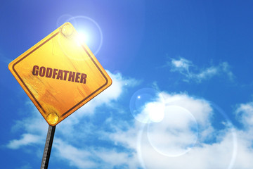 godfather, 3D rendering, glowing yellow traffic sign