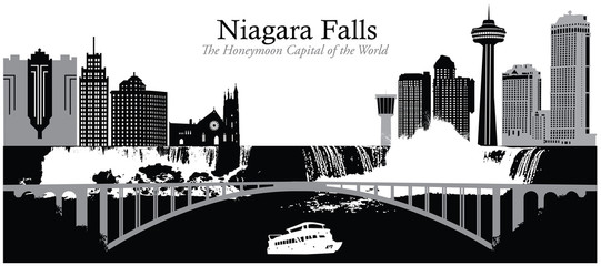 Vector illustration of the cityscape skyline of Niagara Falls
