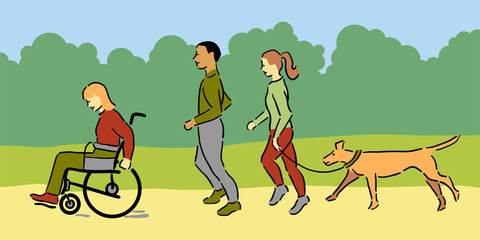 Woman in wheelchair with a man, woman and pet dog jogging outside, green clothing