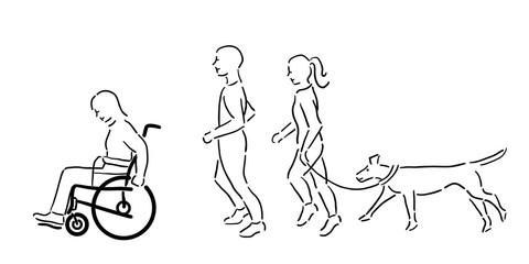 Woman in wheelchair with a man, woman and pet dog jogging outside, black outline
