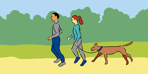 Man and woman with pet dog jogging outside, blue and grey clothing