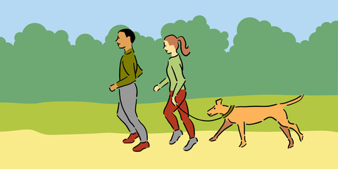 Man and woman with pet dog jogging outside, green tops
