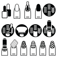Female gel & hybrid manicure with stamping decorative element with use of stamp metal pattern plate, nail polish in black an white icons set