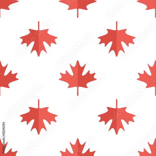 Maple Leaf Flat Design White And Red Symbol Of Canada Seamless