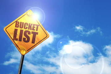 bucket list, 3D rendering, glowing yellow traffic sign