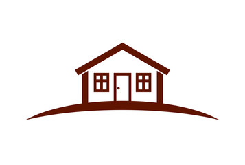 Abstract vector simple house with horizon line. Best for use in