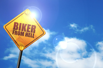 biker from hell, 3D rendering, glowing yellow traffic sign