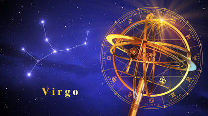 Armillary Sphere And Constellation Virgo Over Blue Background