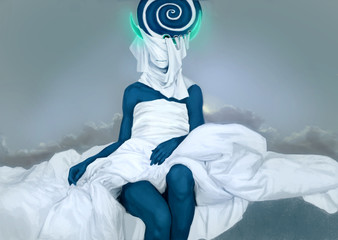 Body of abstract woman, PS drawing. Blue color with white fabric