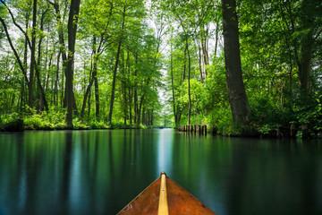 Flow line through the recreation area Spree forest - Spree Wald near Berlin in summer. Boat trip through the flow lines Spree forest