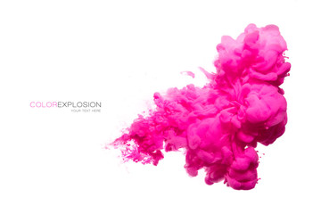 Pink Acrylic Ink in Water. Color Explosion