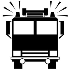 fire engine. vector illustration. road sign