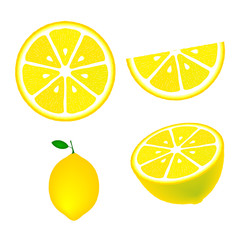 Collection of lemons, isolated on white background, vector illustration.