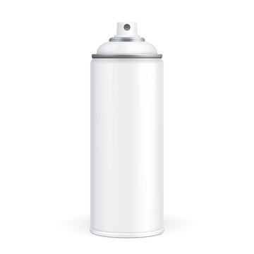 White Paint Aerosol Spray Metal 3D Bottle Can, Graffiti, Deodorant, Household Chemicals, Poison. Front View. Illustration Isolated On White Background. Mock Up Template For Your Design. Vector EPS10