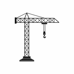 Construction crane icon, simple style