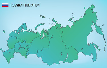 Russian Federation map with selectable territories. Vector