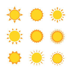 Sun icon sign set collection flat symbol, Vector illustration
