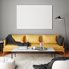 Mock up poster, interior composition, sofa, lamp  and white poster, 3d render