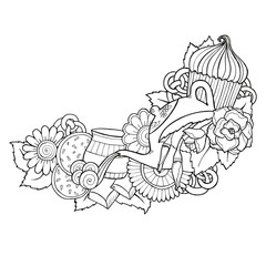 Ceylon, green tea doodle background in vector with paisley.