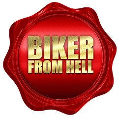biker from hell, 3D rendering, a red wax seal