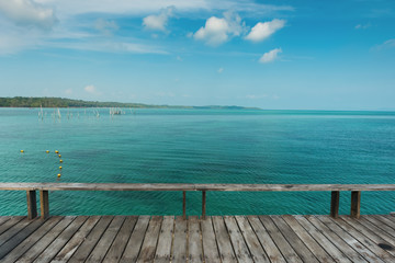 Wooden bridge or wooden deck at the tropical sea at Koh Kood island, Wooden deck for relaxation at Koh Kood Island, Thailand