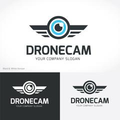 Drone Logo. Eye logo design template. vector logo template.