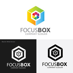 Focus box logo. Logo for Icons for Photographers,Photography logo. Camera logo template. Vector logo template.