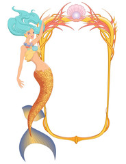 Mermaid with frame. Vector illustration isolated on white background.