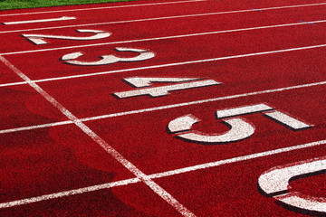Track and field starting lane numbers.
