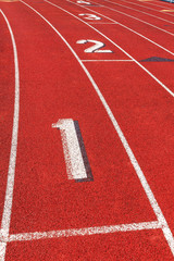 Track and field starting line.