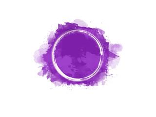 Aquarell Farbfleck in violett mit weißem Kreis in der Mitte, hochauflösende Illustration für kreative Designhintergründe