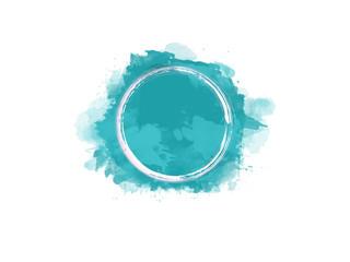 Aquarell Farbfleck in türkis mit weißem Kreis in der Mitte, hochauflösende Illustration für kreative Designhintergründe