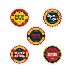 vintage motorcycle badge theme set