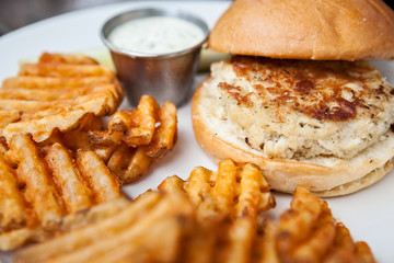 Crab Cake Sandwich and Fries