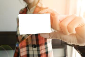 business woman show white card , business idea , business concept