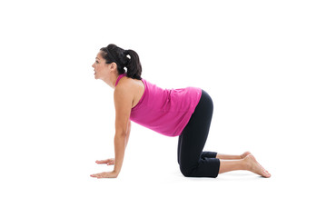 Pregnant woman doing yoga cow pose