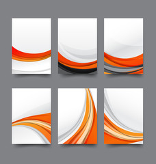 Abstract background collection of curve wave orange and white ba