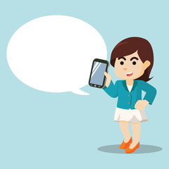 girl with mobile phone and callout