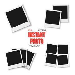 Illustration of Vector Instant Photo. Blank Vintage Photo Frame Mockup Isolated on a White Background. Photorealistic Vector EPS10 Retro Instant Photo Frame Mockup
