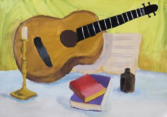 """Детский рисунок гуашью """"Натюрморт с гитарой"""""""