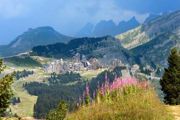 Panoramic view of mountain ski resort in summertime Avoriaz, France