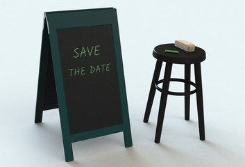 SAVE THE DATE, message on blackboard, 3D rendering