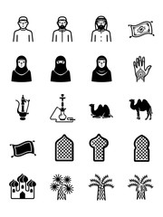 Isram Arab Arabian Vector Icon Set