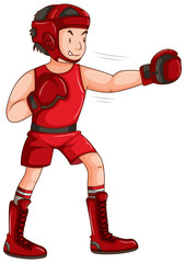 Man in red outfit doing boxing