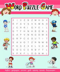 Game template for word puzzle with many sports