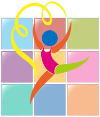Sport icon for gymnastics with ribbon
