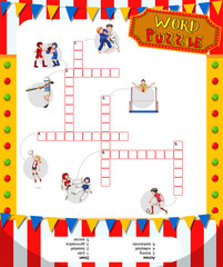 Word puzzle game with sports theme