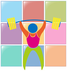 Sport icon design for weightlifting in color